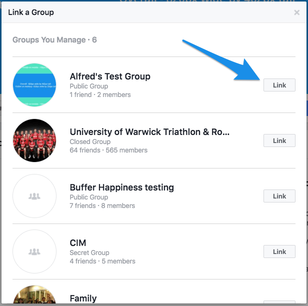 choose facebook group to link